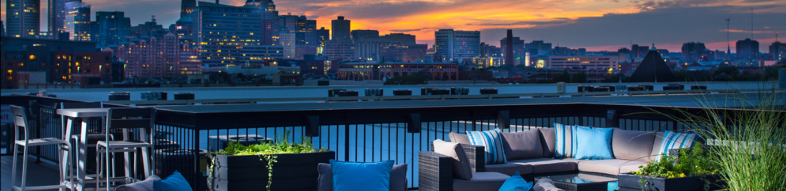 A skyline view of the city from the patio at a Dolben property