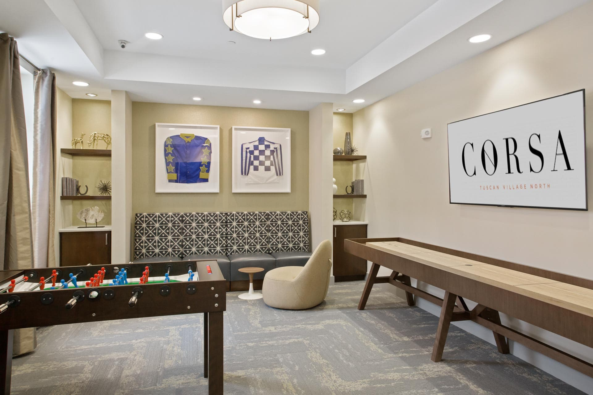 The resident game room inside the Corsa Apartments in Salem, New Hampshire