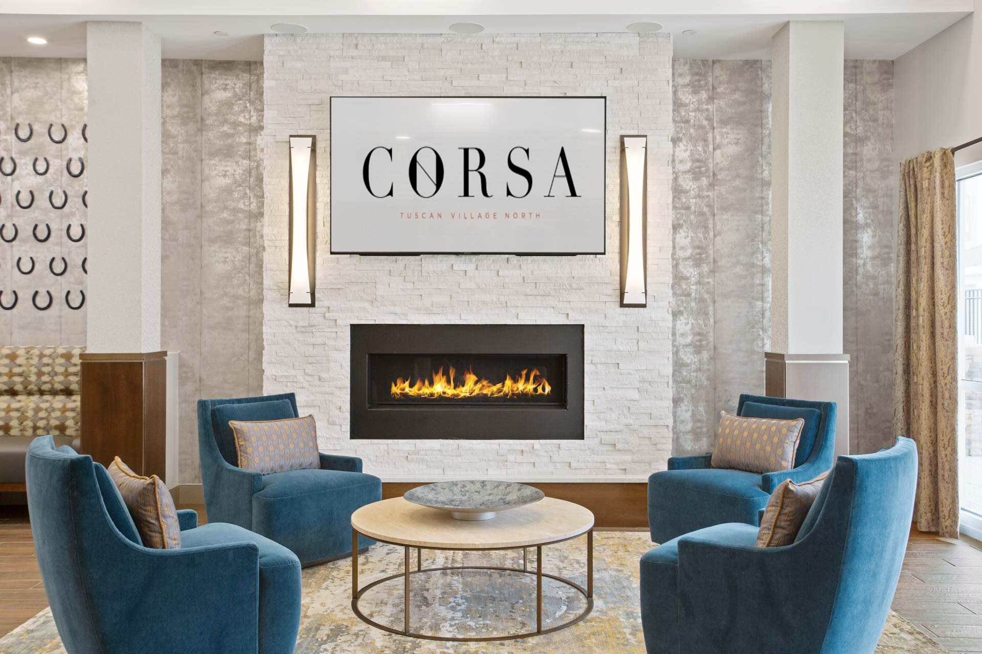 The lobby inside the Corsa Apartments in Salem, New Hampshire