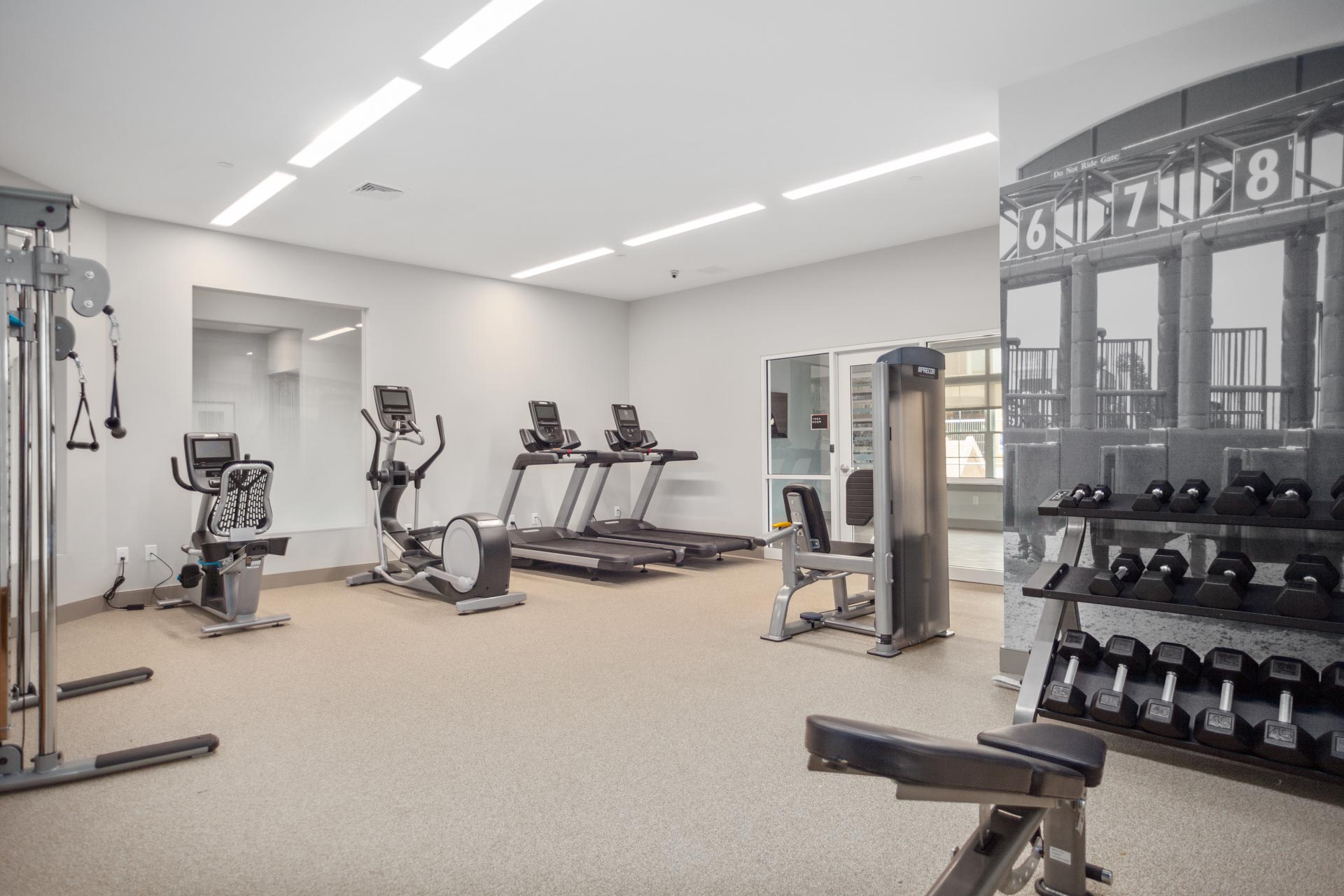 The resident fitness center inside the Corsa Apartments in Salem, New Hampshire