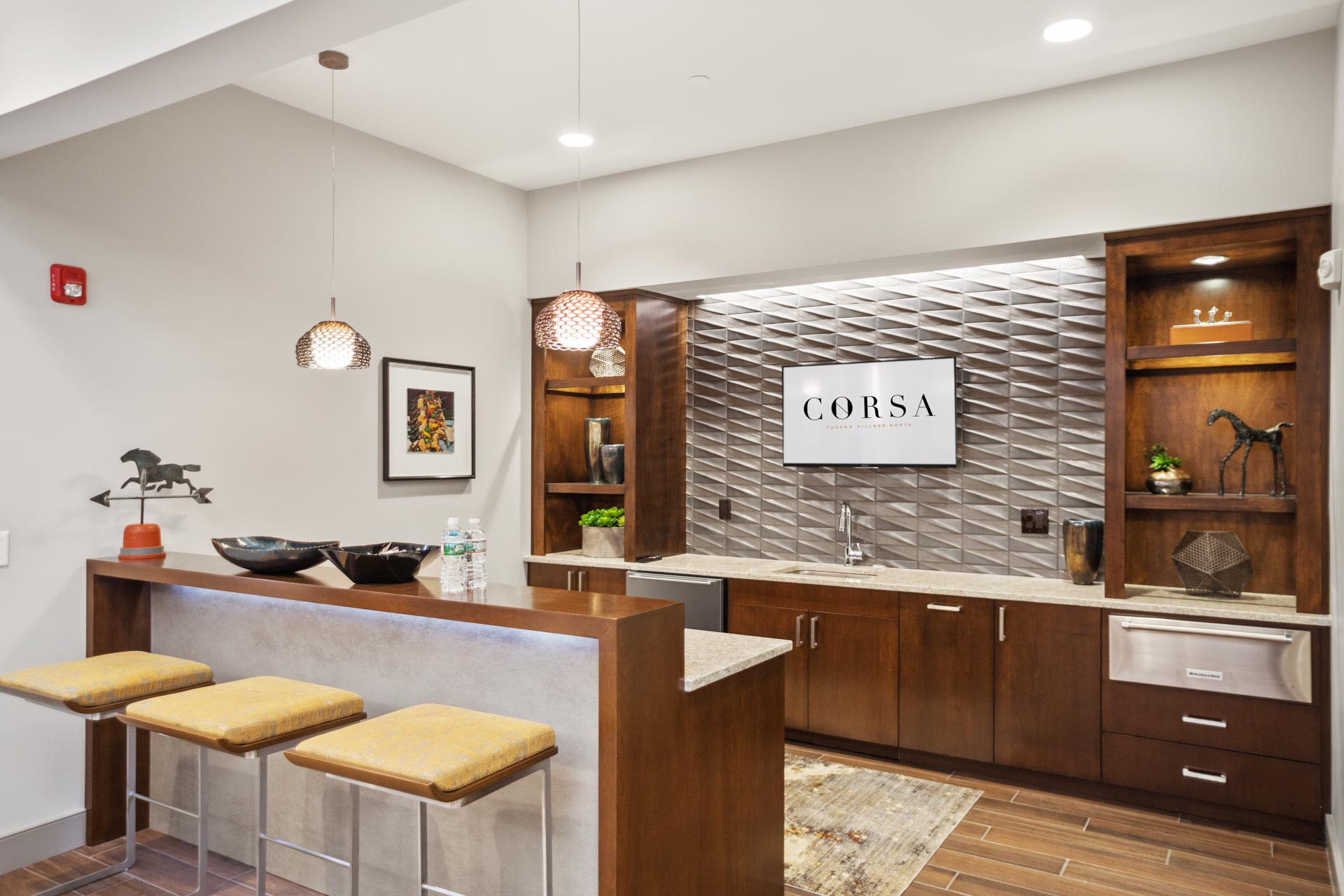 The resident chef's kitchen inside the Corsa Apartments in Salem, New Hampshire