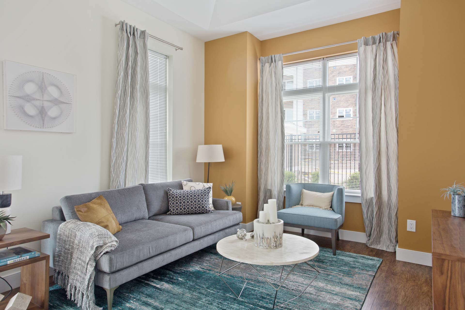 Spacious living room inside the Corsa Apartments in Salem, New Hampshire
