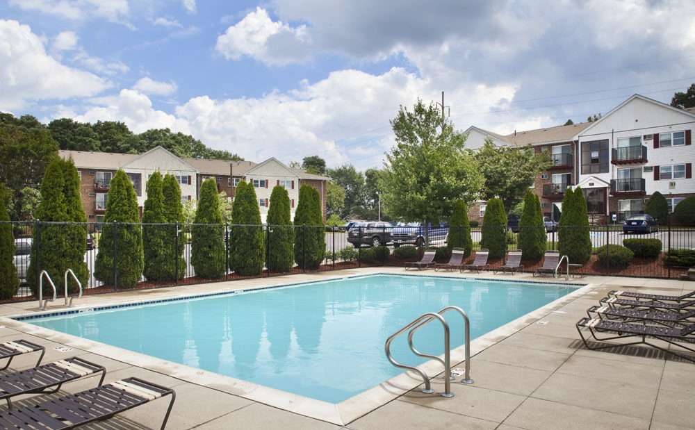 Outdoor pool at Saunders Crossing Apartments in Lawrence, MA