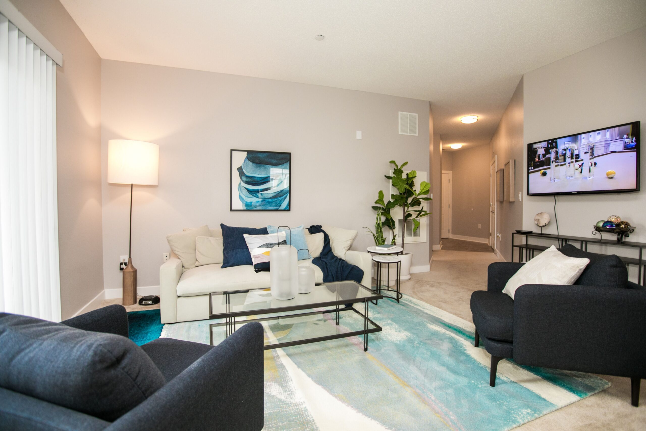 Spacious resident living rooms at Charlestown Crossing, managed by Dolben, in Maryland