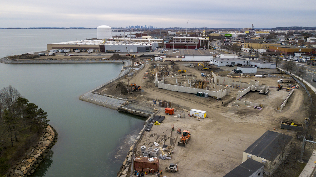 View of the construction on Breakwater being developed by Dolben