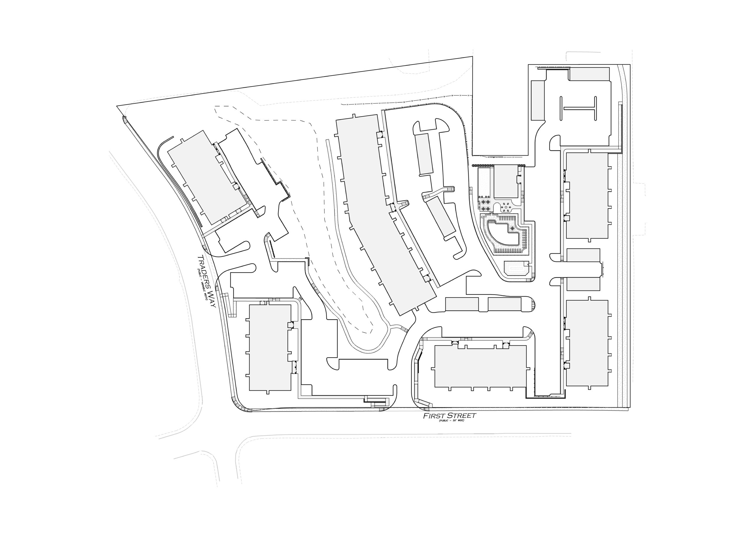 Sketch of Traders Row site plan in Salem, MA being developed by Dolben