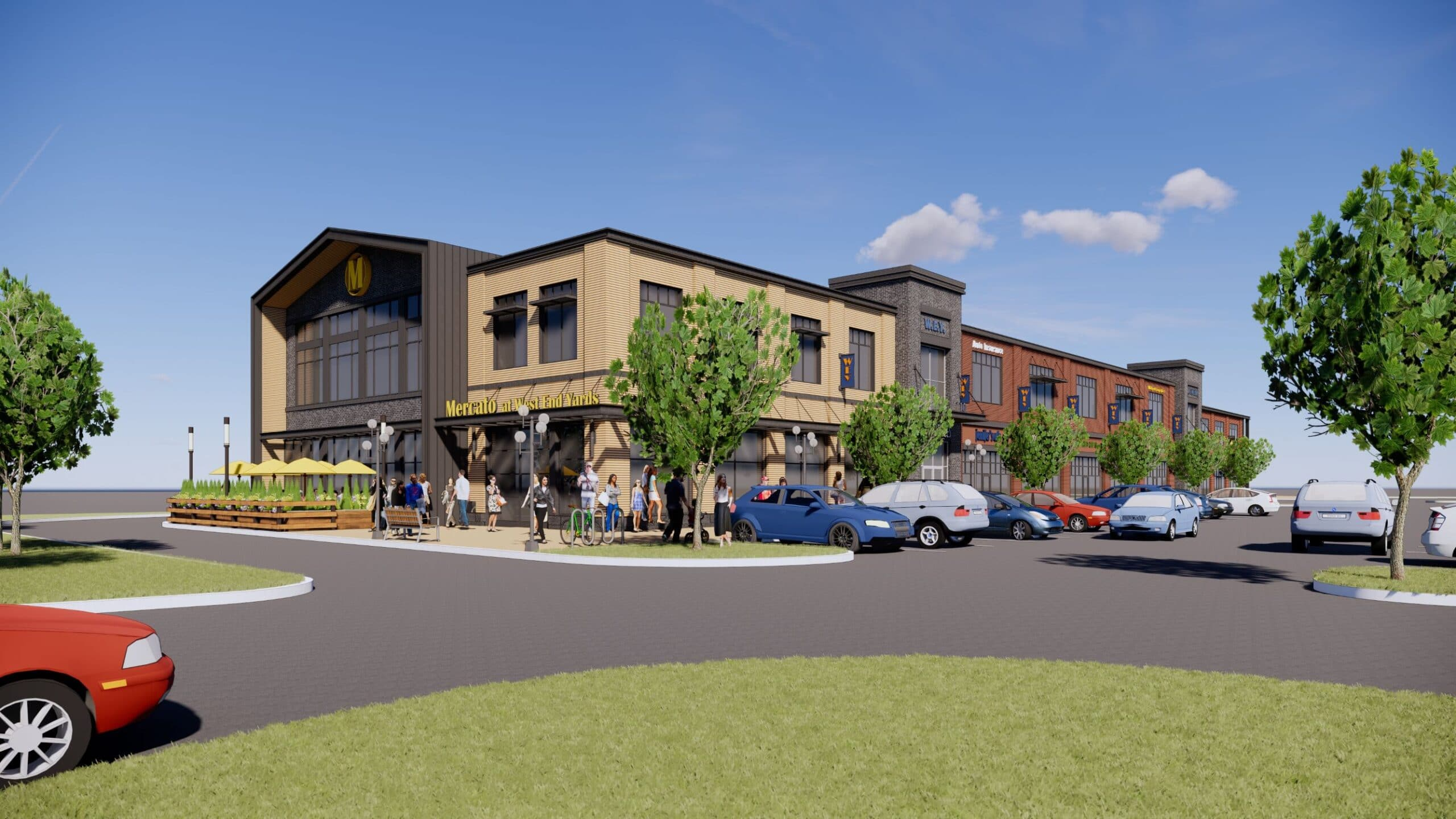 Rendering of West End Yards Apartments, managed by Dolben, in Portsmouth, New Hampshire
